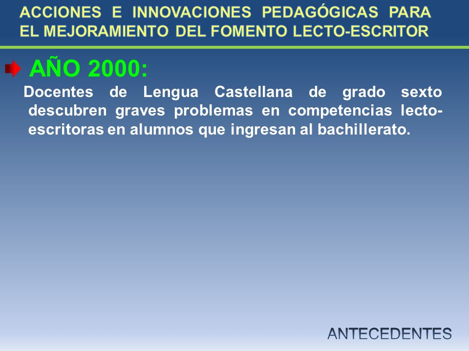 AÑO 2000: Docentes de Lengua Castellana de grado sexto descubren graves problemas en competencias lecto- escritoras en alumnos que ingresan al bachill