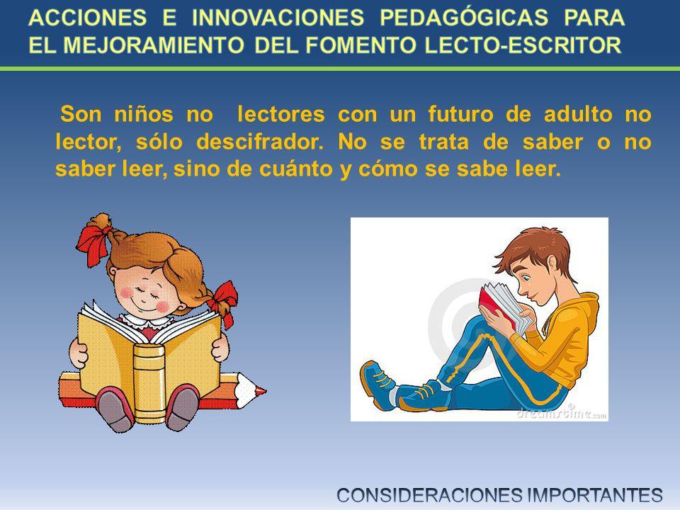 Son niños no lectores con un futuro de adulto no lector, sólo descifrador. No se trata de saber o no saber leer, sino de cuánto y cómo se sabe leer.