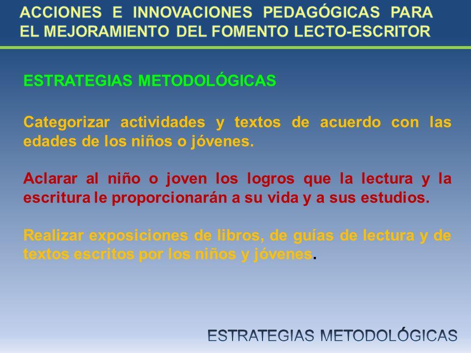 ESTRATEGIAS METODOLÓGICAS Categorizar actividades y textos de acuerdo con las edades de los niños o jóvenes. Aclarar al niño o joven los logros que la