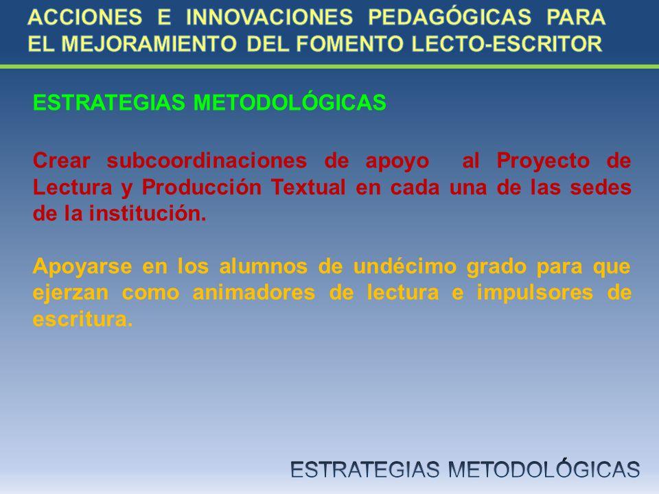 ESTRATEGIAS METODOLÓGICAS Crear subcoordinaciones de apoyo al Proyecto de Lectura y Producción Textual en cada una de las sedes de la institución. Apo