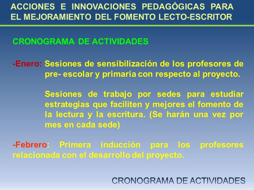 CRONOGRAMA DE ACTIVIDADES -Enero: Sesiones de sensibilización de los profesores de pre- escolar y primaria con respecto al proyecto. Sesiones de traba