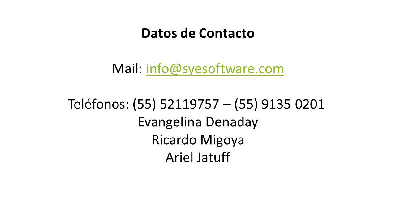 Datos de Contacto Mail: info@syesoftware.cominfo@syesoftware.com Teléfonos: (55) 52119757 – (55) 9135 0201 Evangelina Denaday Ricardo Migoya Ariel Jatuff