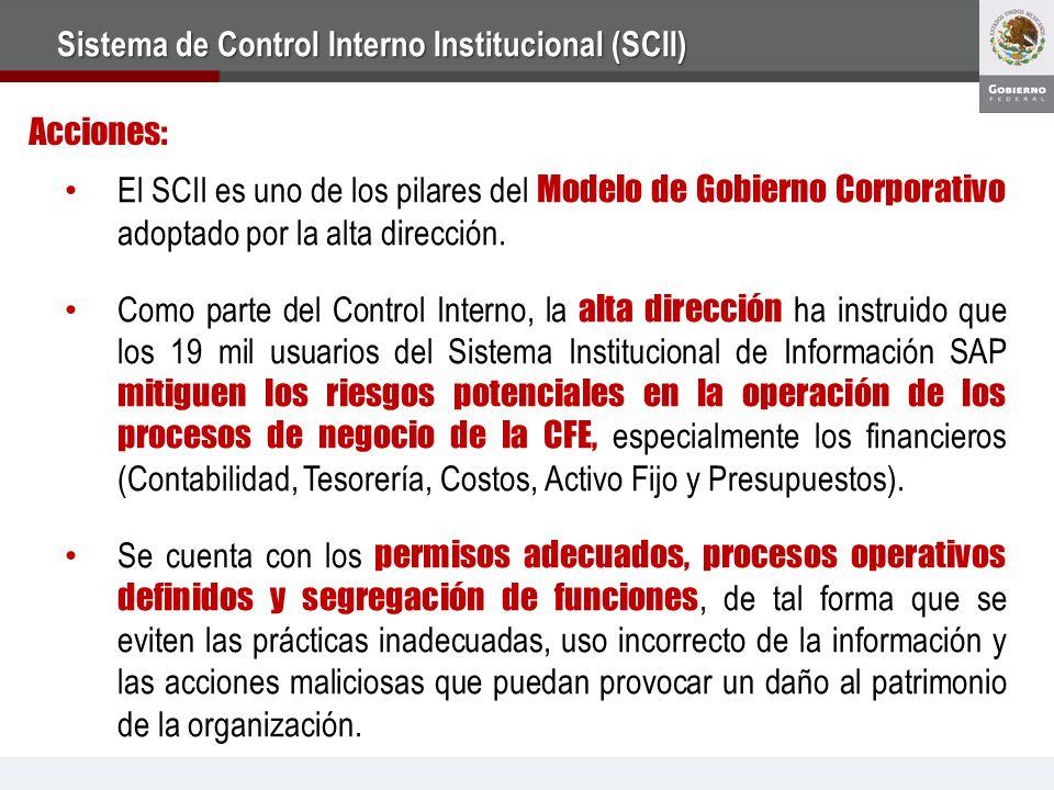 El SCII es uno de los pilares del Modelo de Gobierno Corporativo adoptado por la alta dirección.