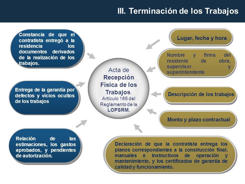 Acta de Recepción Física de los Trabajos. Artículo 166 del Reglamento de la LOPSRM. Lugar, fecha y hora Entrega de la garantía por defectos y vicios o