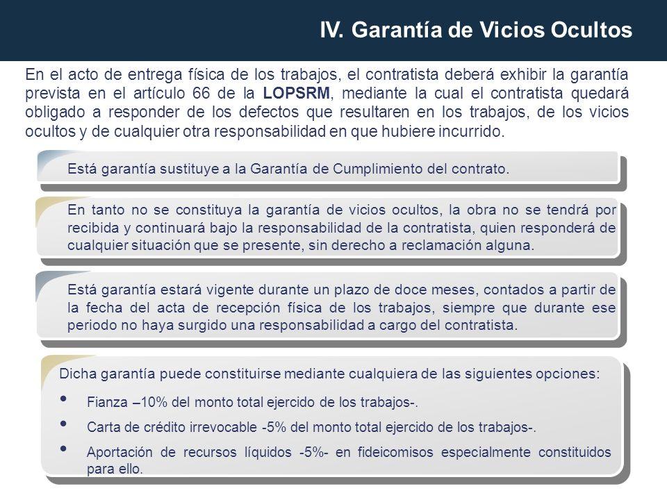 En el acto de entrega física de los trabajos, el contratista deberá exhibir la garantía prevista en el artículo 66 de la LOPSRM, mediante la cual el c