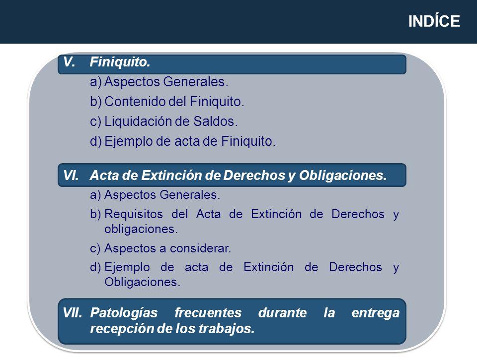 INDÍCE V.Finiquito. a)Aspectos Generales. b)Contenido del Finiquito. c)Liquidación de Saldos. d)Ejemplo de acta de Finiquito. VI.Acta de Extinción de