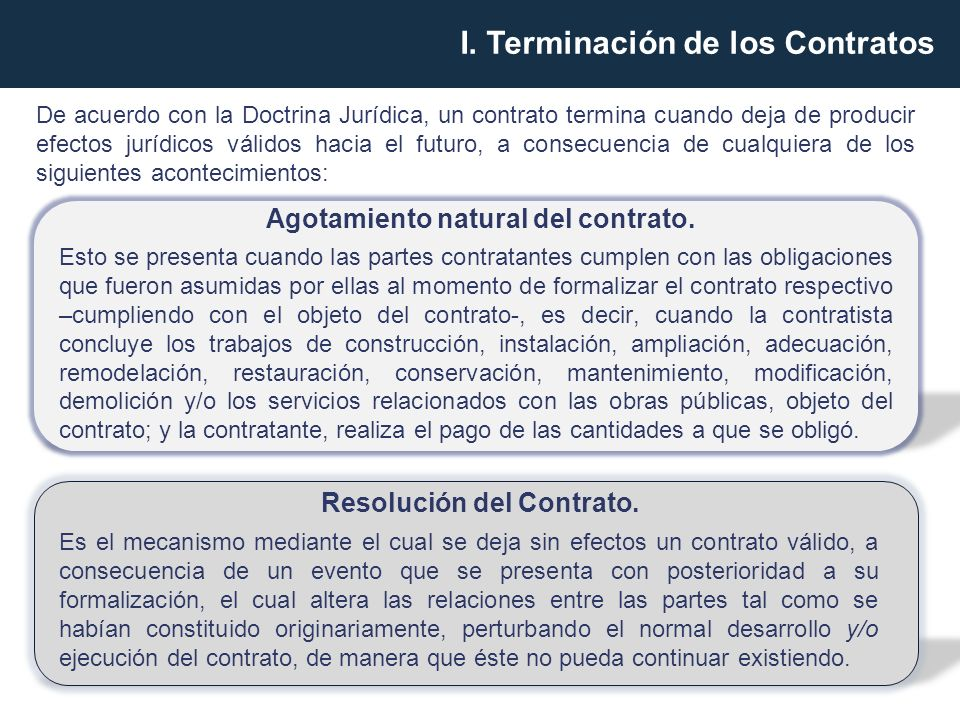 Agotamiento natural del contrato.