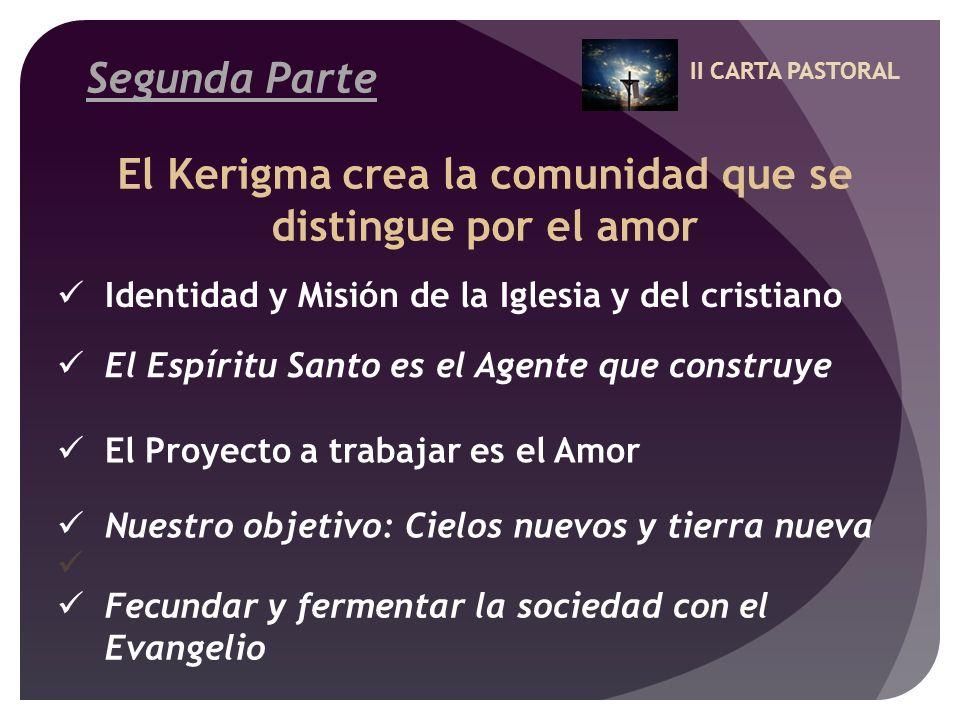 II CARTA PASTORAL Segunda Parte El Kerigma crea la comunidad que se distingue por el amor Identidad y Misión de la Iglesia y del cristiano El Espíritu