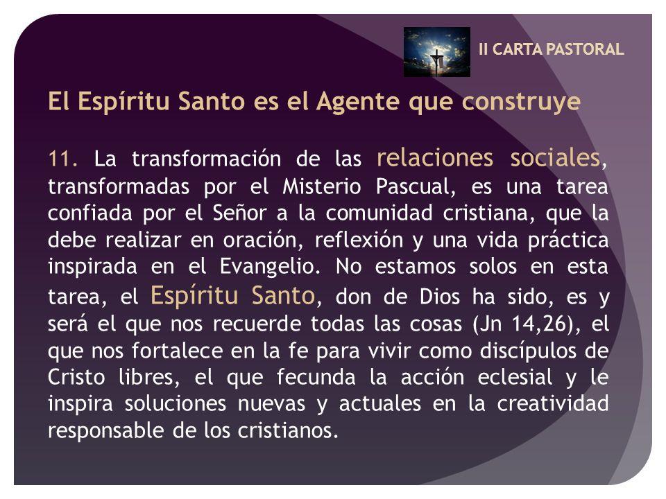 II CARTA PASTORAL El Espíritu Santo es el Agente que construye 11. La transformación de las relaciones sociales, transformadas por el Misterio Pascual