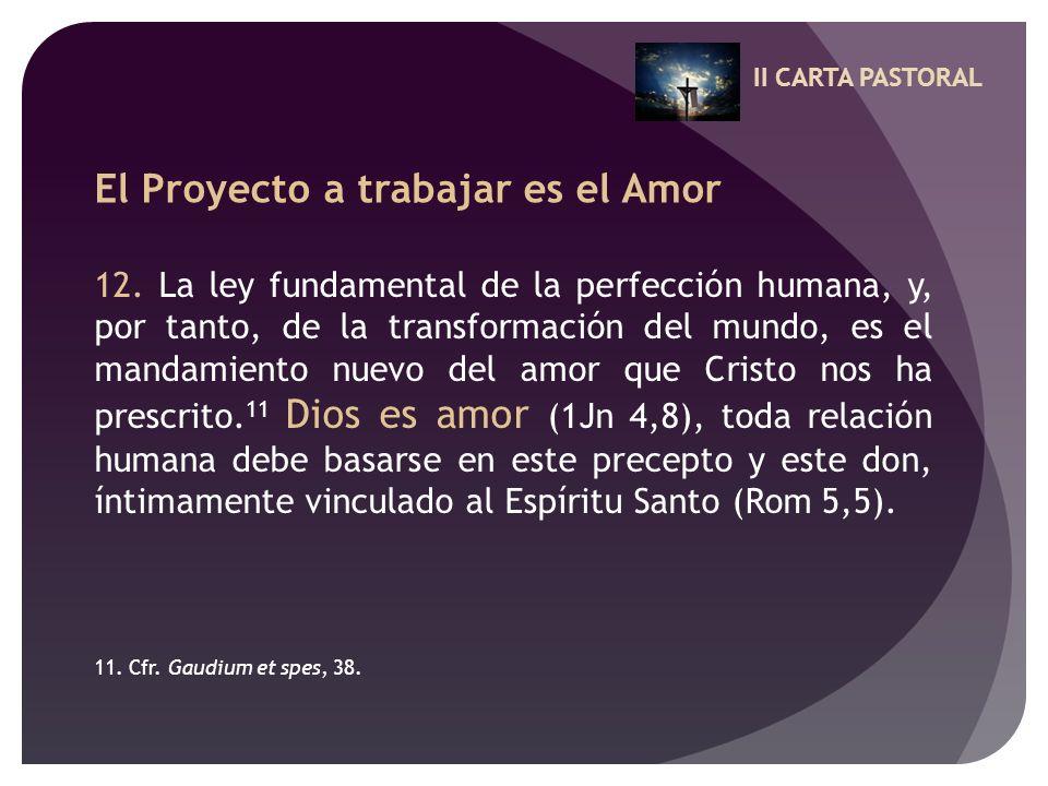 II CARTA PASTORAL El Proyecto a trabajar es el Amor 12. La ley fundamental de la perfección humana, y, por tanto, de la transformación del mundo, es e