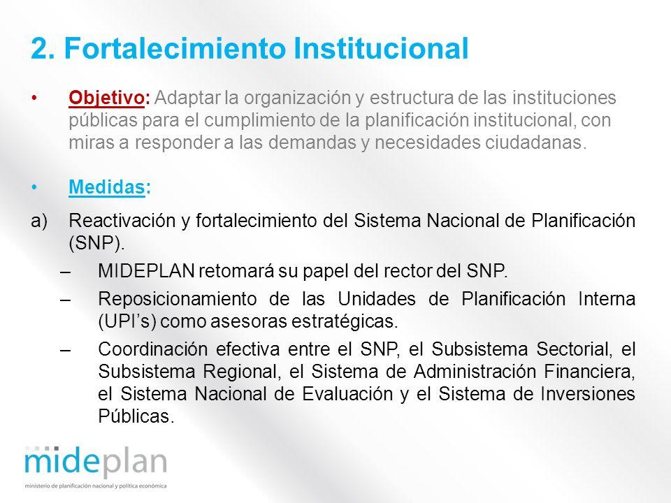 Objetivo: Adaptar la organización y estructura de las instituciones públicas para el cumplimiento de la planificación institucional, con miras a respo