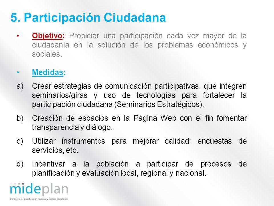 Objetivo: Propiciar una participación cada vez mayor de la ciudadanía en la solución de los problemas económicos y sociales. Medidas: a)Crear estrateg