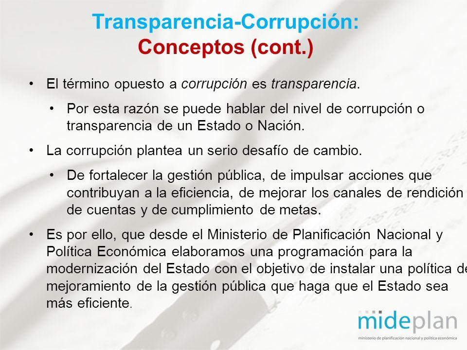 El término opuesto a corrupción es transparencia. Por esta razón se puede hablar del nivel de corrupción o transparencia de un Estado o Nación. La cor