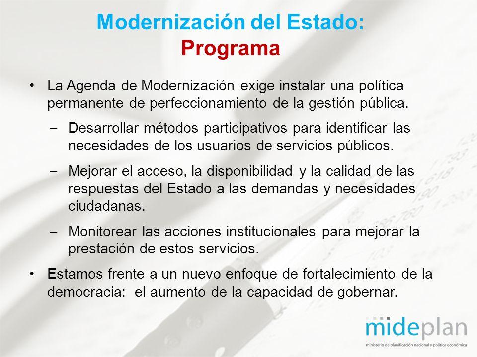 La Agenda de Modernización exige instalar una política permanente de perfeccionamiento de la gestión pública. – Desarrollar métodos participativos par