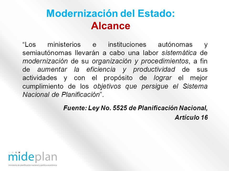 Los ministerios e instituciones autónomas y semiautónomas llevarán a cabo una labor sistemática de modernización de su organización y procedimientos,