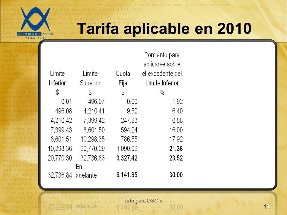 Tarifa aplicable en 2010 11 info para OSC´s