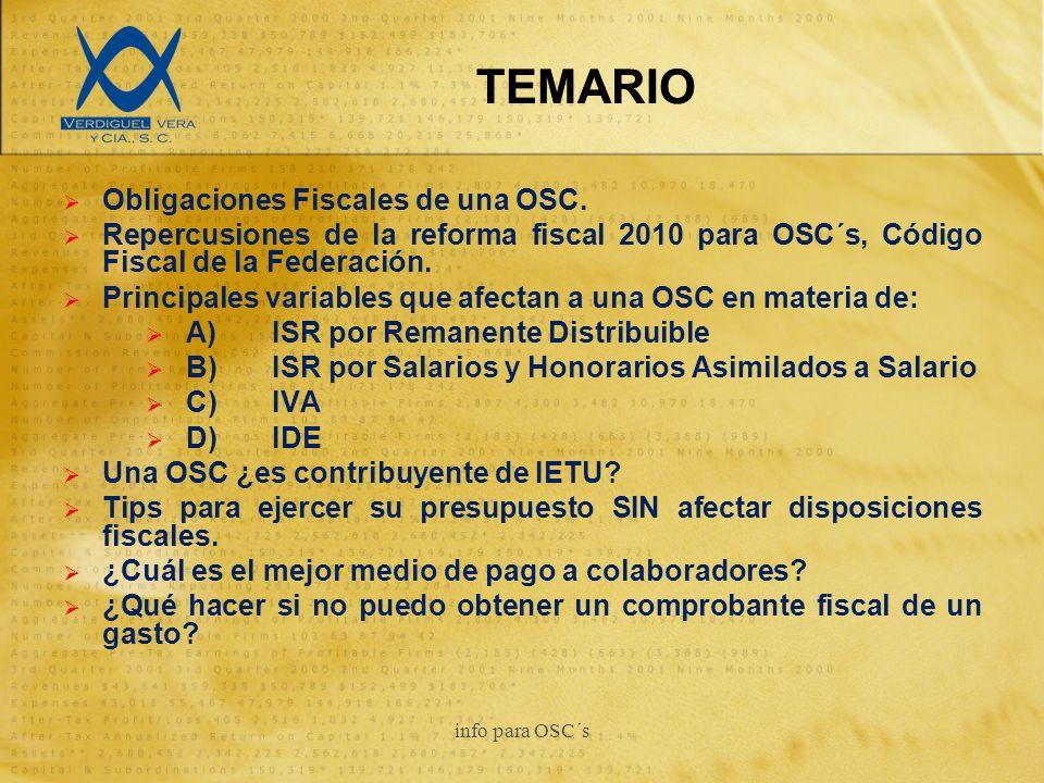 TEMARIO Obligaciones Fiscales de una OSC.