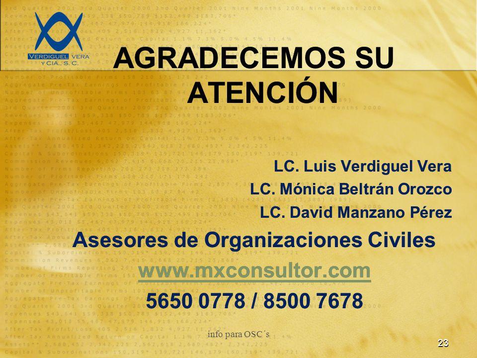 AGRADECEMOS SU ATENCIÓN LC. Luis Verdiguel Vera LC.
