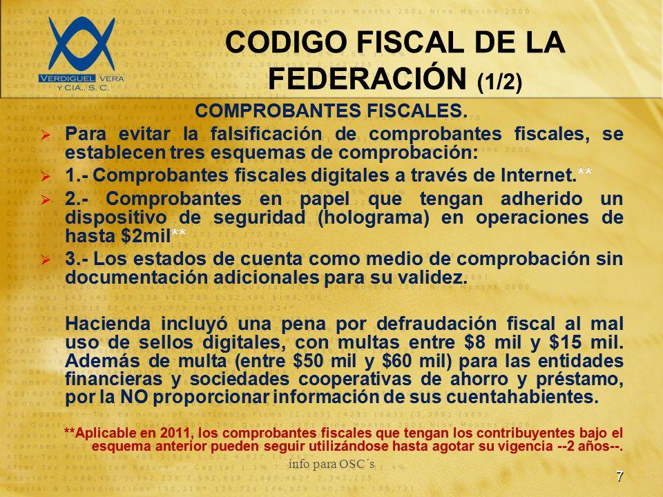 CODIGO FISCAL DE LA FEDERACIÓN (1/2) COMPROBANTES FISCALES.