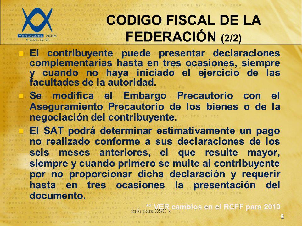 CODIGO FISCAL DE LA FEDERACIÓN (2/2) El contribuyente puede presentar declaraciones complementarias hasta en tres ocasiones, siempre y cuando no haya iniciado el ejercicio de las facultades de la autoridad.