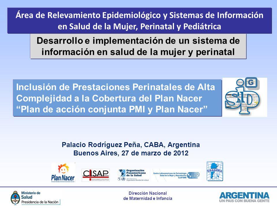 Dirección Nacional de Maternidad e Infancia Desarrollo e implementación de un sistema de información en salud de la mujer y perinatal Inclusión de Pre