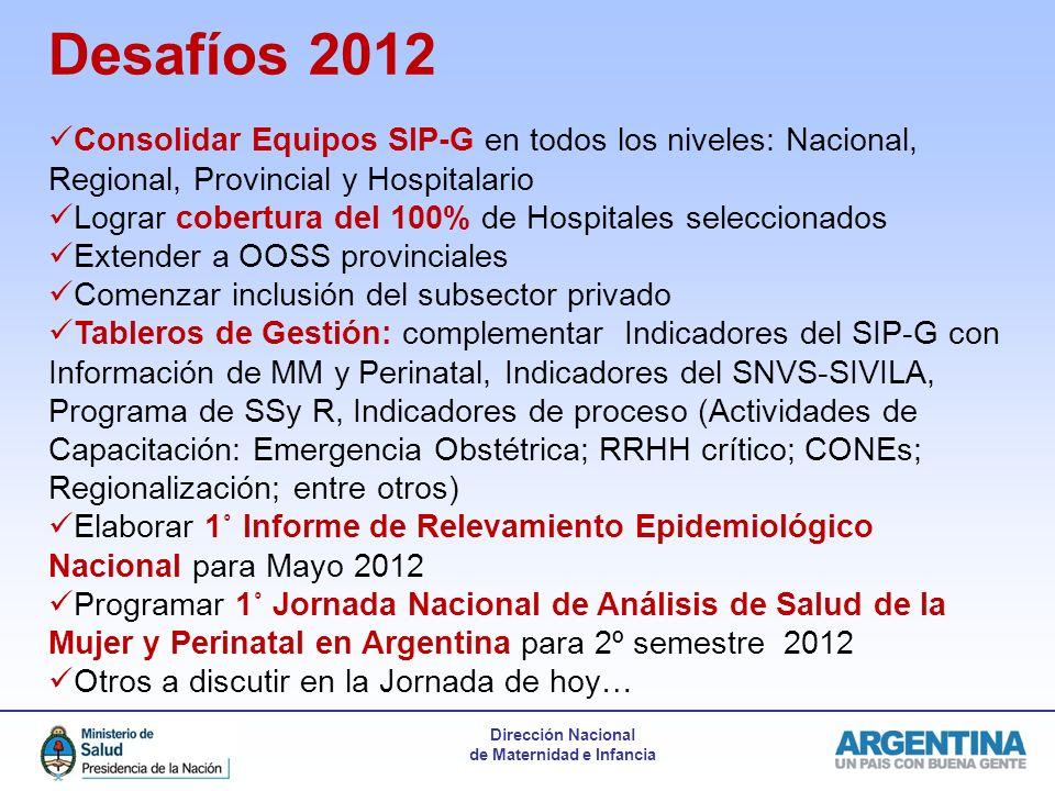 Dirección Nacional de Maternidad e Infancia Desafíos 2012 Consolidar Equipos SIP-G en todos los niveles: Nacional, Regional, Provincial y Hospitalario