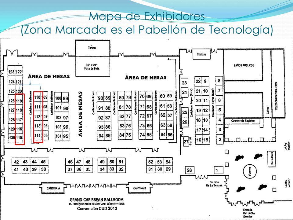 Mapa de Exhibidores (Zona Marcada es el Pabellón de Tecnología)