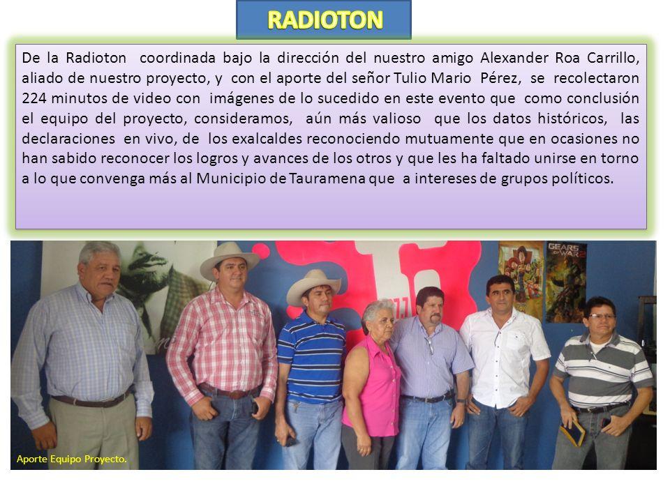 En el Conversatorio que se adelanto el día 14 de septiembre de 2013, obtuvimos 238 minutos de video con la conversación del señor Ricaute Rodríguez Ch