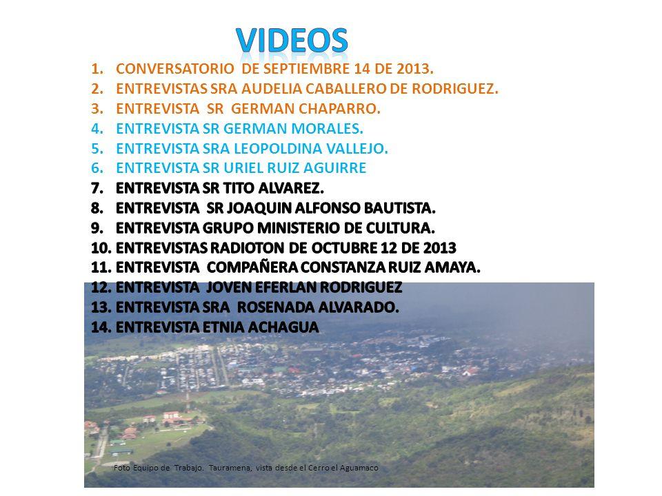 1.CONVERSATORIO DE SEPTIEMBRE 14 DE 2013. 2.ENTREVISTAS DE PERSONALIDADES (Q.E.P.D.) 3.RADIOTON EMISORA COMUNITARIA OCTUBRE 12 DE 2013. 4.ENTREVISTA A