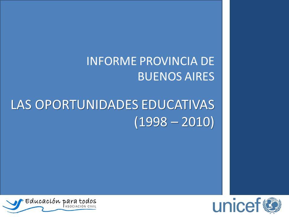 INFORME PROVINCIA DE BUENOS AIRES LAS OPORTUNIDADES EDUCATIVAS (1998 – 2010)