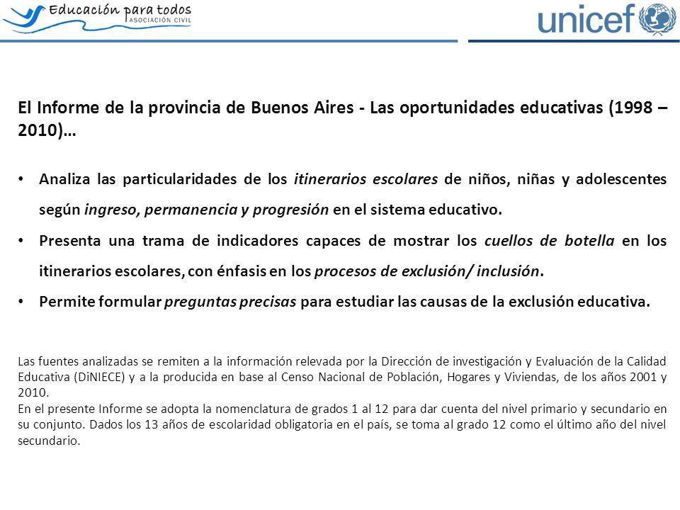 El Informe de la provincia de Buenos Aires - Las oportunidades educativas (1998 – 2010)… Analiza las particularidades de los itinerarios escolares de niños, niñas y adolescentes según ingreso, permanencia y progresión en el sistema educativo.