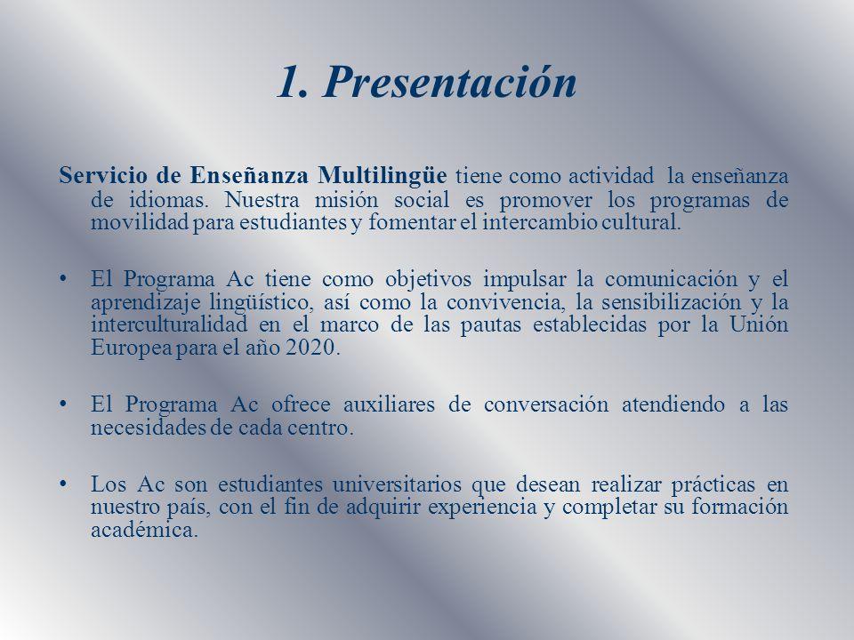 1. Presentación Servicio de Enseñanza Multilingüe tiene como actividad la enseñanza de idiomas. Nuestra misión social es promover los programas de mov