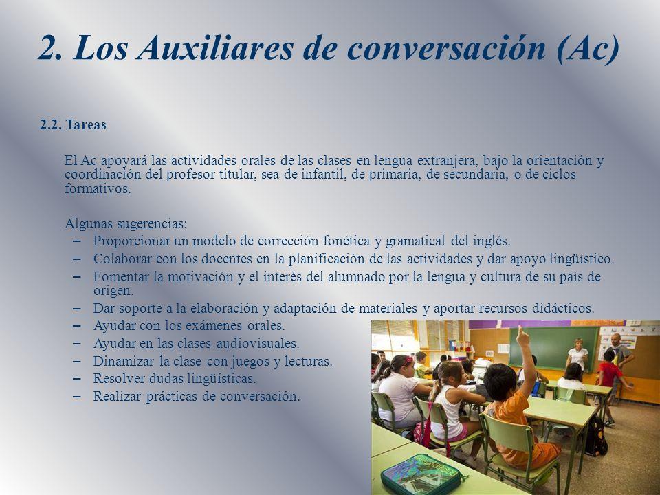 2. Los Auxiliares de conversación (Ac) 2.2. Tareas El Ac apoyará las actividades orales de las clases en lengua extranjera, bajo la orientación y coor