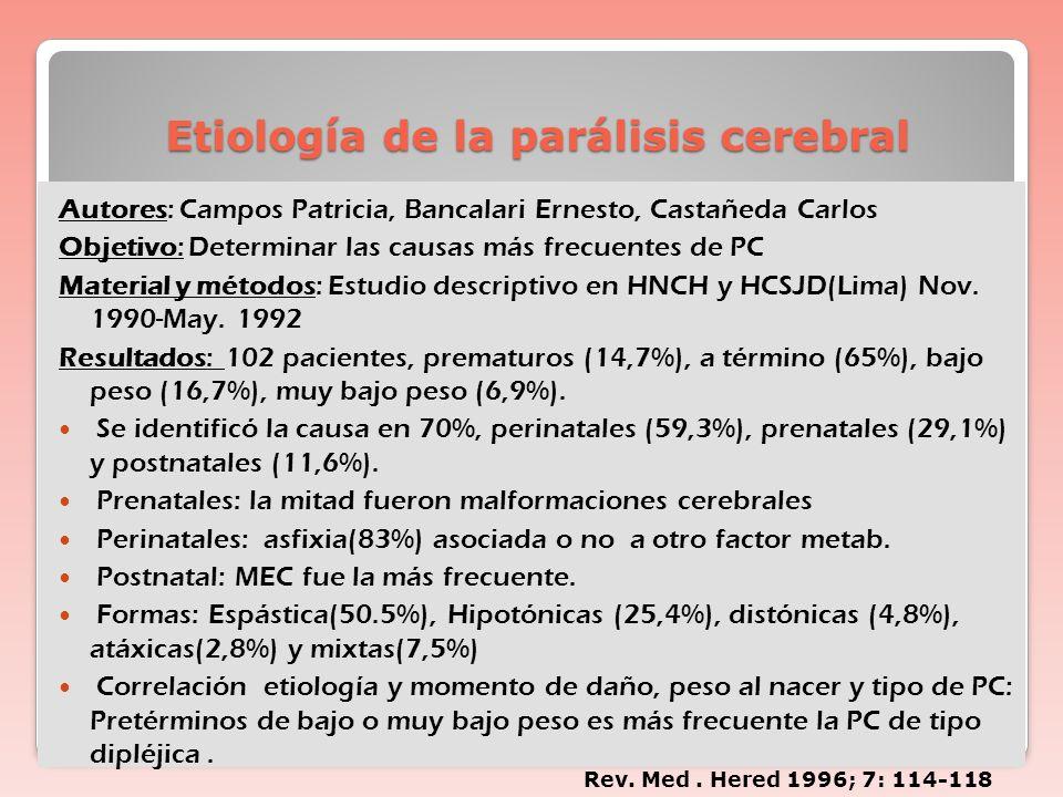 Factores de riesgo en niños con PCI en el centro de Rehabilitación Infantil Teletón, Estado de México Autores: A. Parodi Carvajal, D.B. Ibarra, G. Rey