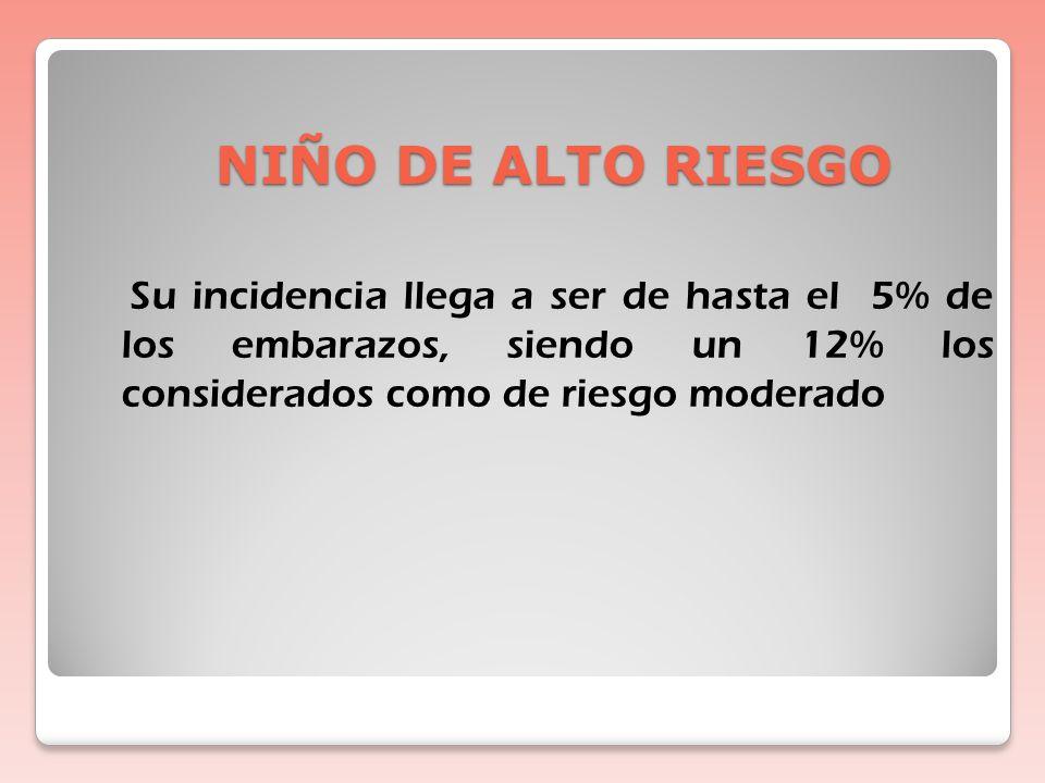 NIÑO DE ALTO RIESGO DEFINICION Niño que debido a sus antecedentes, presenta desde el punto de vista estadístico más probabilidad de manifestar un défi