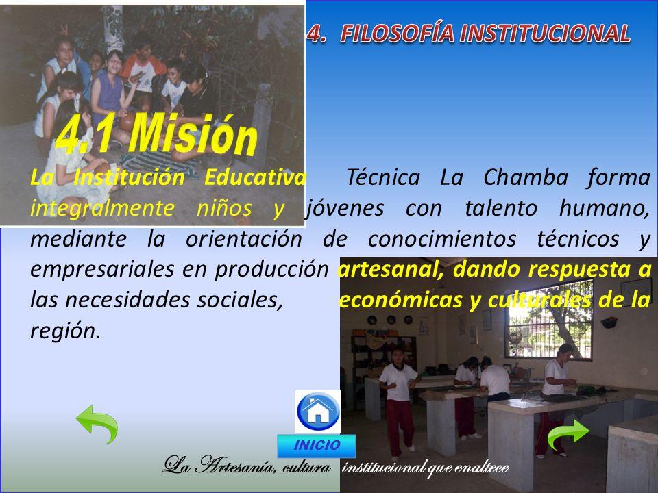La Institución Educativa Técnica La Chamba forma integralmente niños y jóvenes con talento humano, mediante la orientación de conocimientos técnicos y empresariales en producción artesanal, dando respuesta a las necesidades sociales, económicas y culturales de la región.