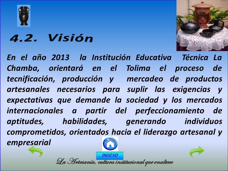 La Artesanía, cultura institucional que enaltece En el año 2013 la Institución Educativa Técnica La Chamba, orientará en el Tolima el proceso de tecni