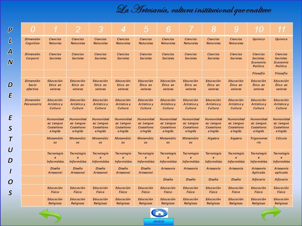 01234567891011 Dimensión Cognitiva Ciencias Naturles Ciencias Naturales Química Dimensión Corporal Ciencias Sociales Ciencias Sociales: Economía Polít