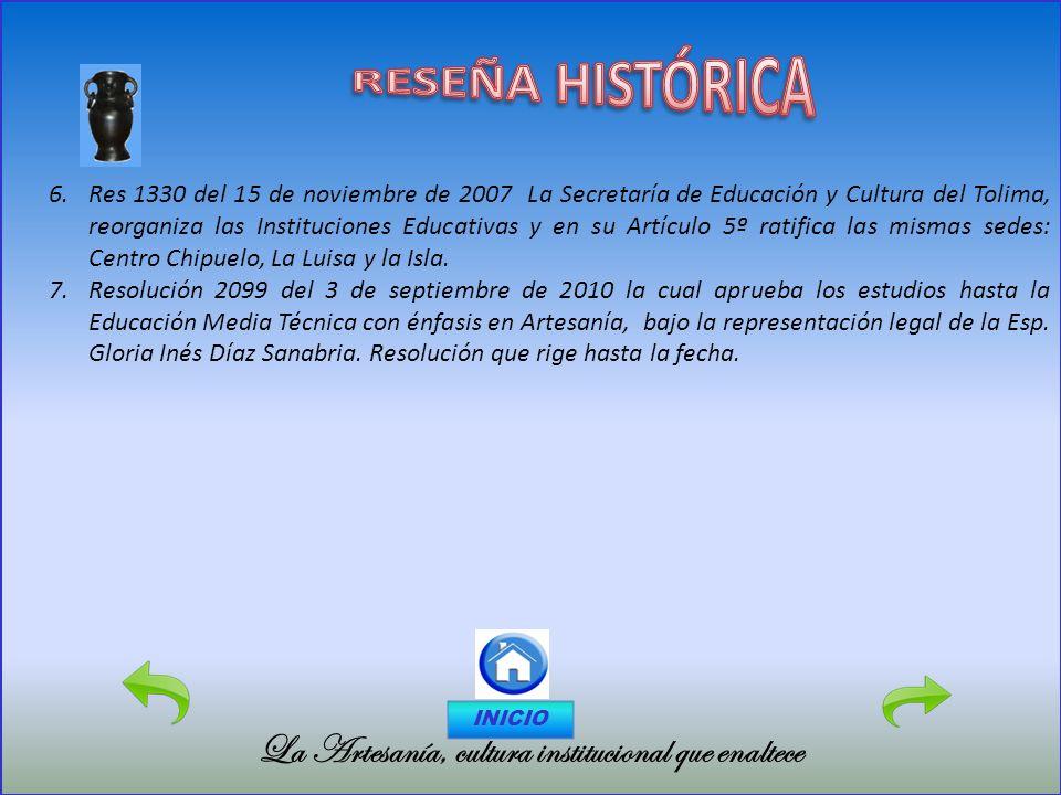La Artesanía, cultura institucional que enaltece 6.Res 1330 del 15 de noviembre de 2007 La Secretaría de Educación y Cultura del Tolima, reorganiza las Instituciones Educativas y en su Artículo 5º ratifica las mismas sedes: Centro Chipuelo, La Luisa y la Isla.