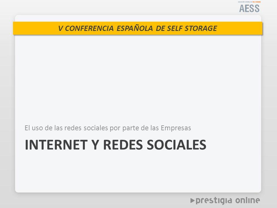 V CONFERENCIA ESPAÑOLA DE SELF STORAGE El uso de las redes sociales por parte de las Empresas INTERNET Y REDES SOCIALES