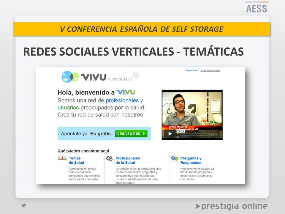 V CONFERENCIA ESPAÑOLA DE SELF STORAGE 10 REDES SOCIALES VERTICALES - TEMÁTICAS
