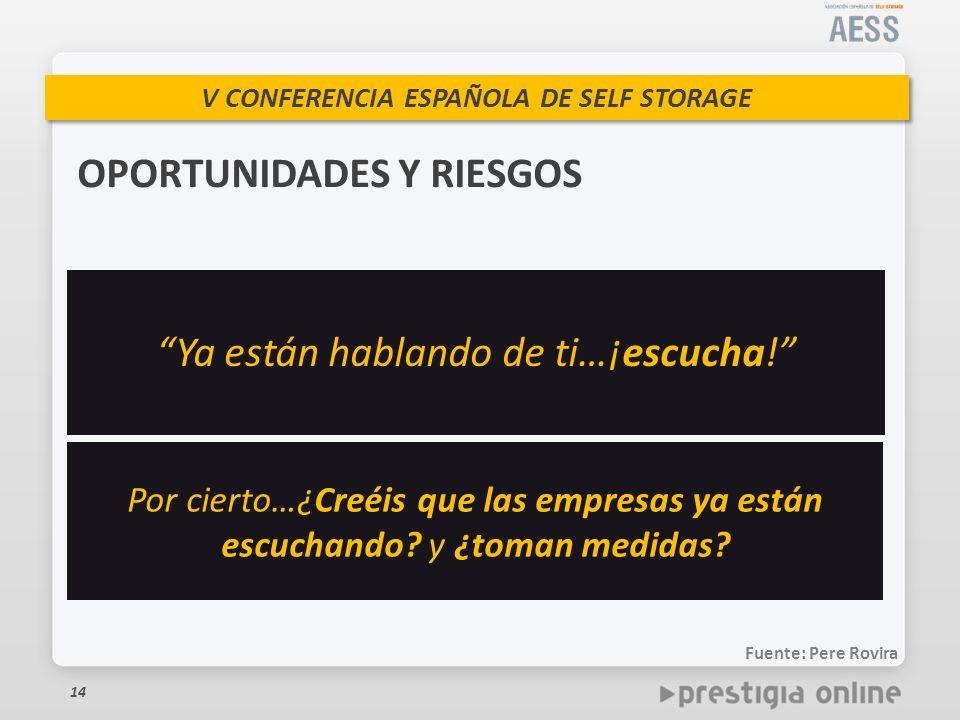V CONFERENCIA ESPAÑOLA DE SELF STORAGE 14 OPORTUNIDADES Y RIESGOS Ya están hablando de ti…¡escucha.