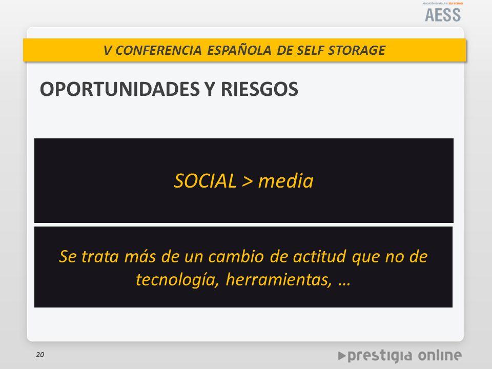 V CONFERENCIA ESPAÑOLA DE SELF STORAGE 20 OPORTUNIDADES Y RIESGOS SOCIAL > media Se trata más de un cambio de actitud que no de tecnología, herramientas, …