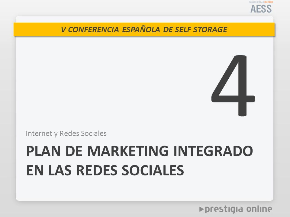 V CONFERENCIA ESPAÑOLA DE SELF STORAGE Internet y Redes Sociales PLAN DE MARKETING INTEGRADO EN LAS REDES SOCIALES 4