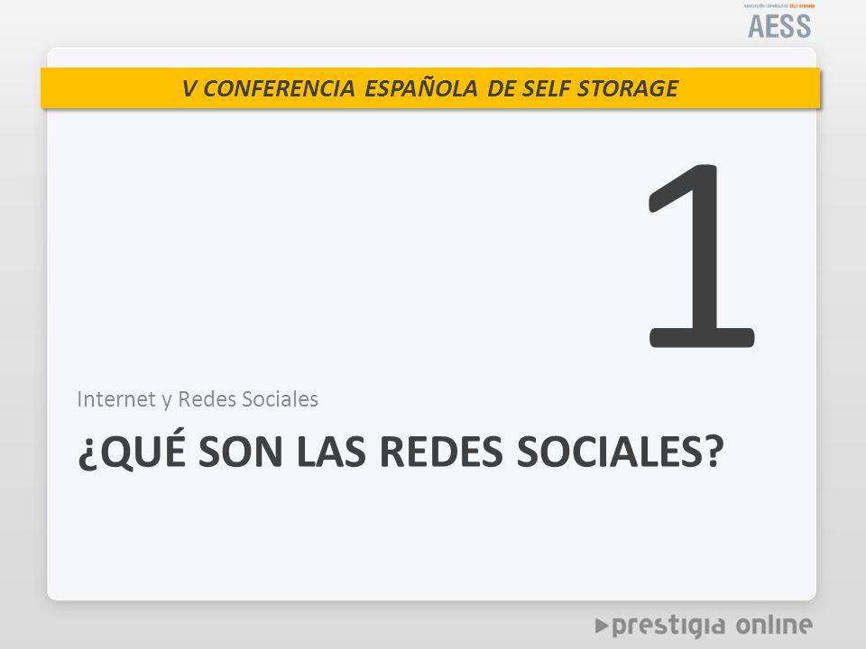 V CONFERENCIA ESPAÑOLA DE SELF STORAGE Internet y Redes Sociales ¿QUÉ SON LAS REDES SOCIALES? 1