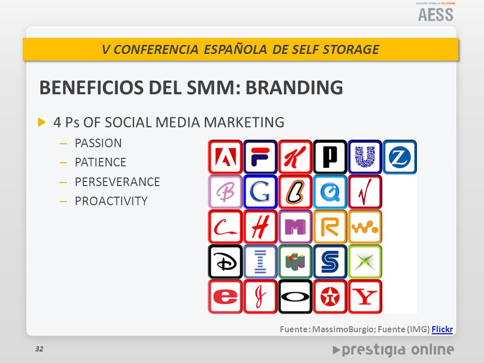 V CONFERENCIA ESPAÑOLA DE SELF STORAGE BENEFICIOS DEL SMM: BRANDING 4 Ps OF SOCIAL MEDIA MARKETING – PASSION – PATIENCE – PERSEVERANCE – PROACTIVITY 3