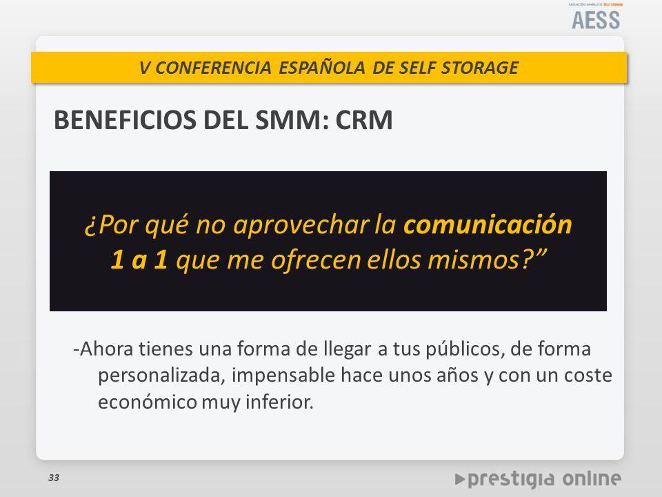 V CONFERENCIA ESPAÑOLA DE SELF STORAGE BENEFICIOS DEL SMM: CRM 33 -Ahora tienes una forma de llegar a tus públicos, de forma personalizada, impensable hace unos años y con un coste económico muy inferior.