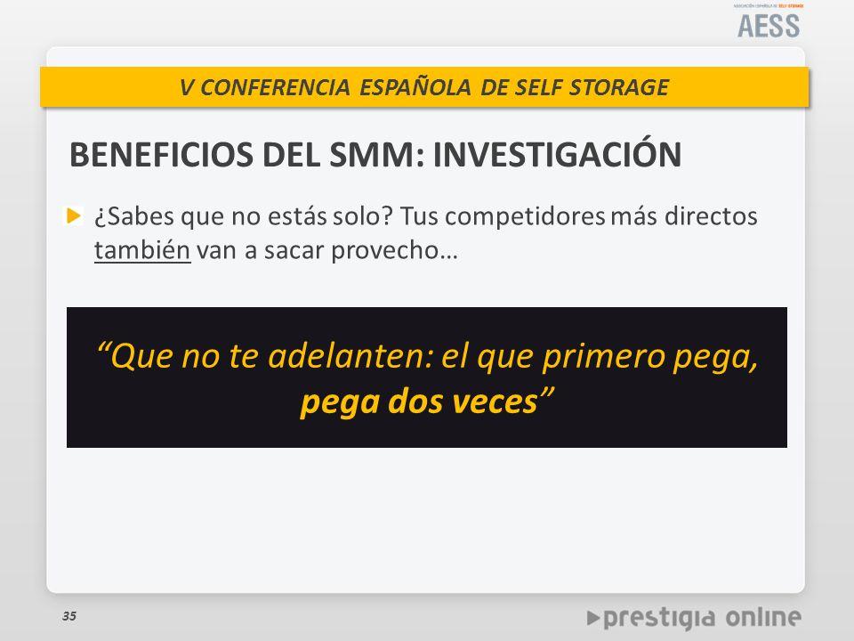 V CONFERENCIA ESPAÑOLA DE SELF STORAGE BENEFICIOS DEL SMM: INVESTIGACIÓN 35 ¿Sabes que no estás solo.