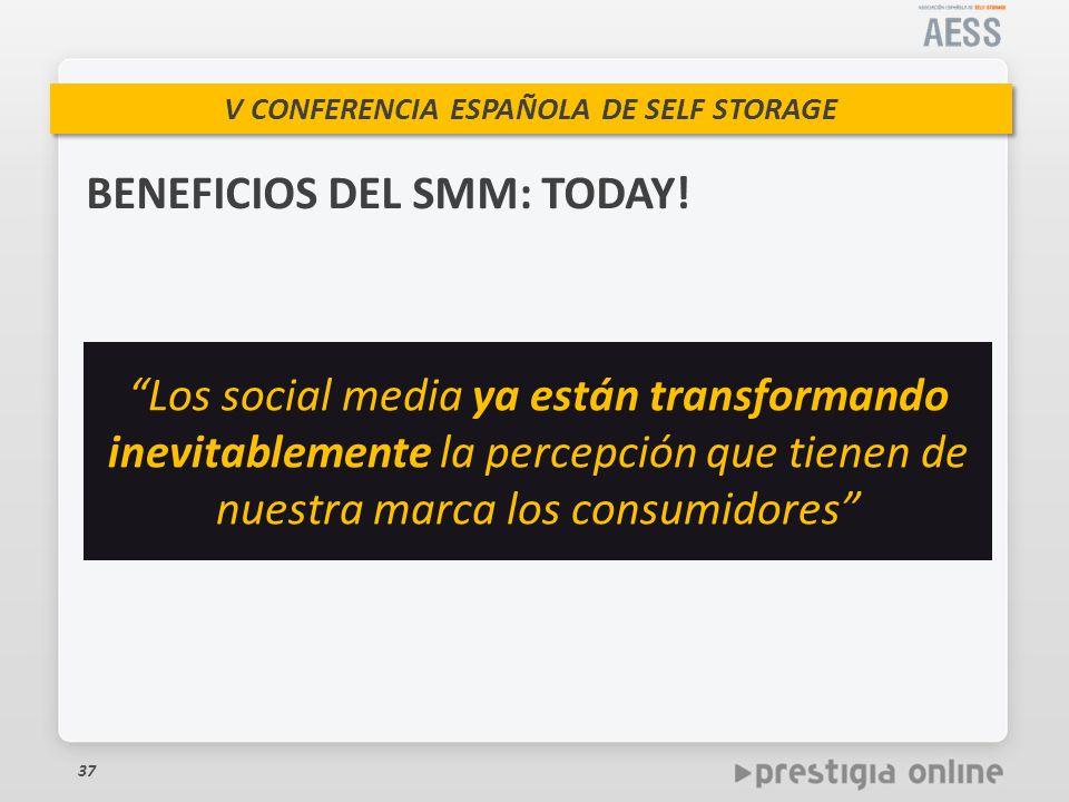 V CONFERENCIA ESPAÑOLA DE SELF STORAGE BENEFICIOS DEL SMM: TODAY.