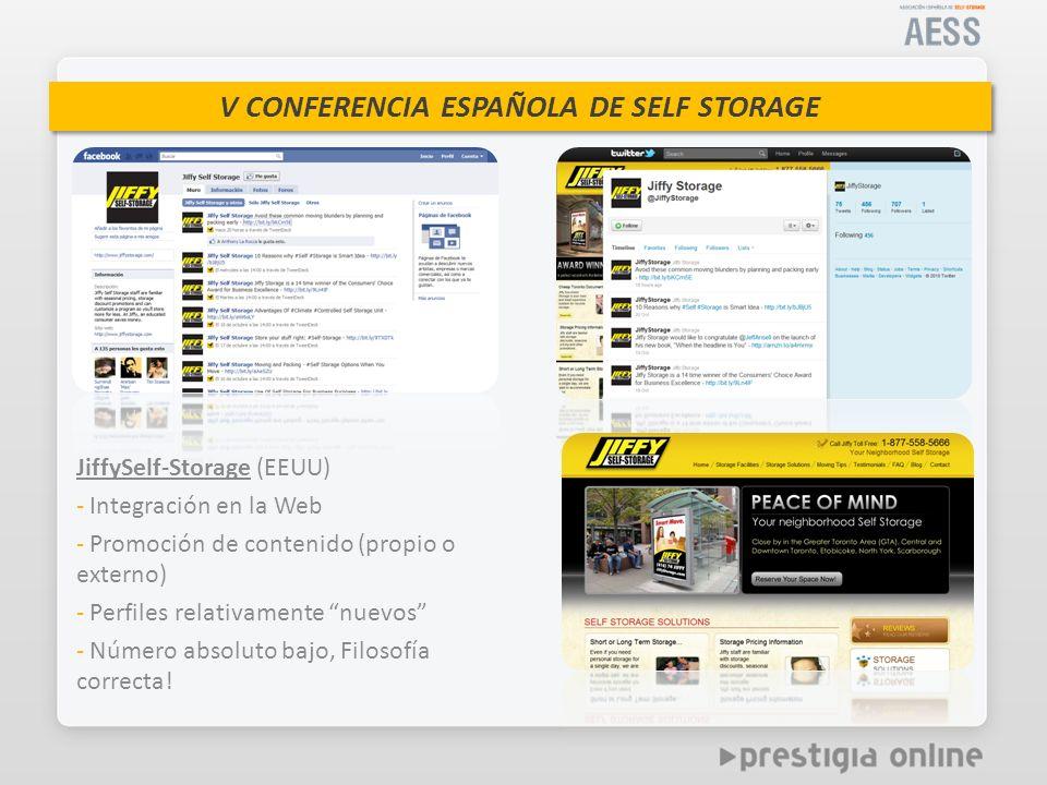 JiffySelf-Storage (EEUU) - Integración en la Web - Promoción de contenido (propio o externo) - Perfiles relativamente nuevos - Número absoluto bajo, Filosofía correcta!